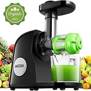 Aicok Licuadoras Para Verduras y Frutas, Licuadora de Prensado en Frío, Motor Silencioso y Función Inversa, Con Jarra de Zumo y Cepillo Para Limpiarlo, Alto Jugo de Nutrientes de Frutas y Verduras
