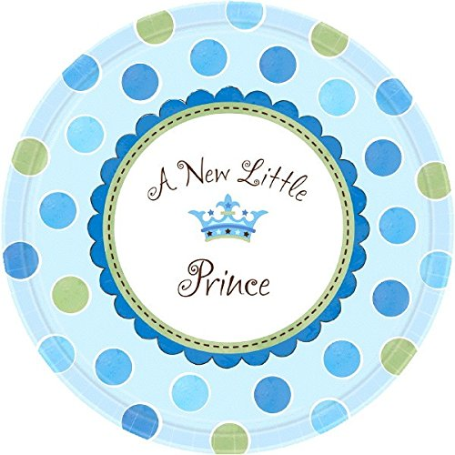 Amscan Adorable Little Prince Baby Shower Party Dinner Plates, Blue, 10 1/2