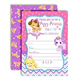 Princess Puppy Birthday Party Invitations for Girls, 20 5''x7'' Fill in Cards with Twenty White Envelopes by AmandaCreation
