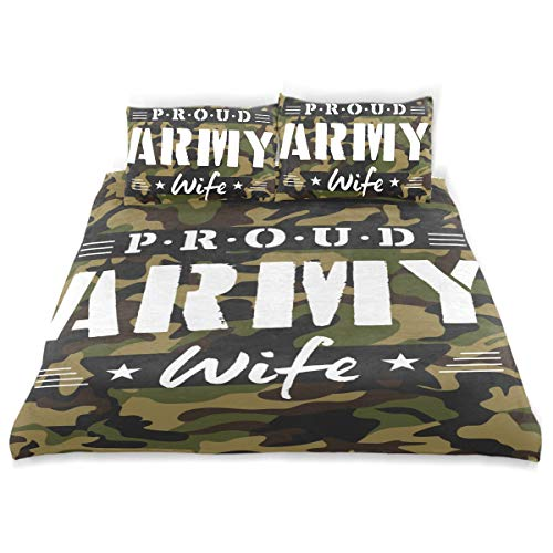 CANCAKA Proud Duvet Cover Set Proud Army Wife Tshirt Design Camouflage Design Bedding Decoration Twin XL Size 3 PC Sets 1 Duvets Covers with 2 Pillowcase Microfiber Bedding Set Bedroom Decor Accessor ()