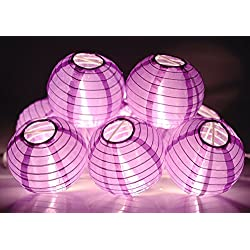 "KI Store Lantern String Lights Set of 10 Extendable Plug-in Oriental Style 4"" Lanterns with Lights for Weddings Parties Bedroom Decoration (Purple)"