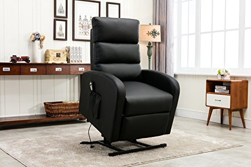Divano Roma Furniture - Classic Plush Bonded Leather Power Lift Recliner Living Room Chair (Black) Electric Recliner Power Lift Chair