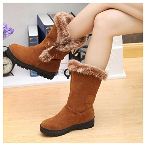Khaki On Boots Round Snow Ankle Women Flat Inkach Shoes Boots Slip Faux Winter Lining Fur Toe 1qZg7A7w
