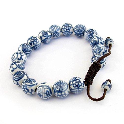 OVALBUY Vintage Style Porcelain Beads Buddhist Wrist Mala Bracelet