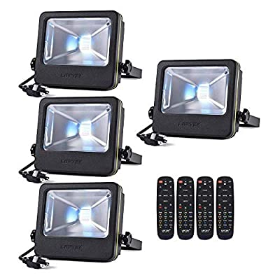 LOFTEK 30W RGB LED Flood Light,RGB Spotlight with Remote Control, IP66 Protection and UL Listed Plug, 16 Colors Changing and 6 Levels Adjustable Brightness for Outdoor Decoration, Black, Pack of 4