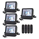 RGB Flood Light, 50 watts LED Security Floodlight, UL Listed Plug, 16 Colors Changing and 6 Levels Adjustable Brightness Outdoor Light by LOFTEK, NOVA S Series, Black (Black 4-Pack)