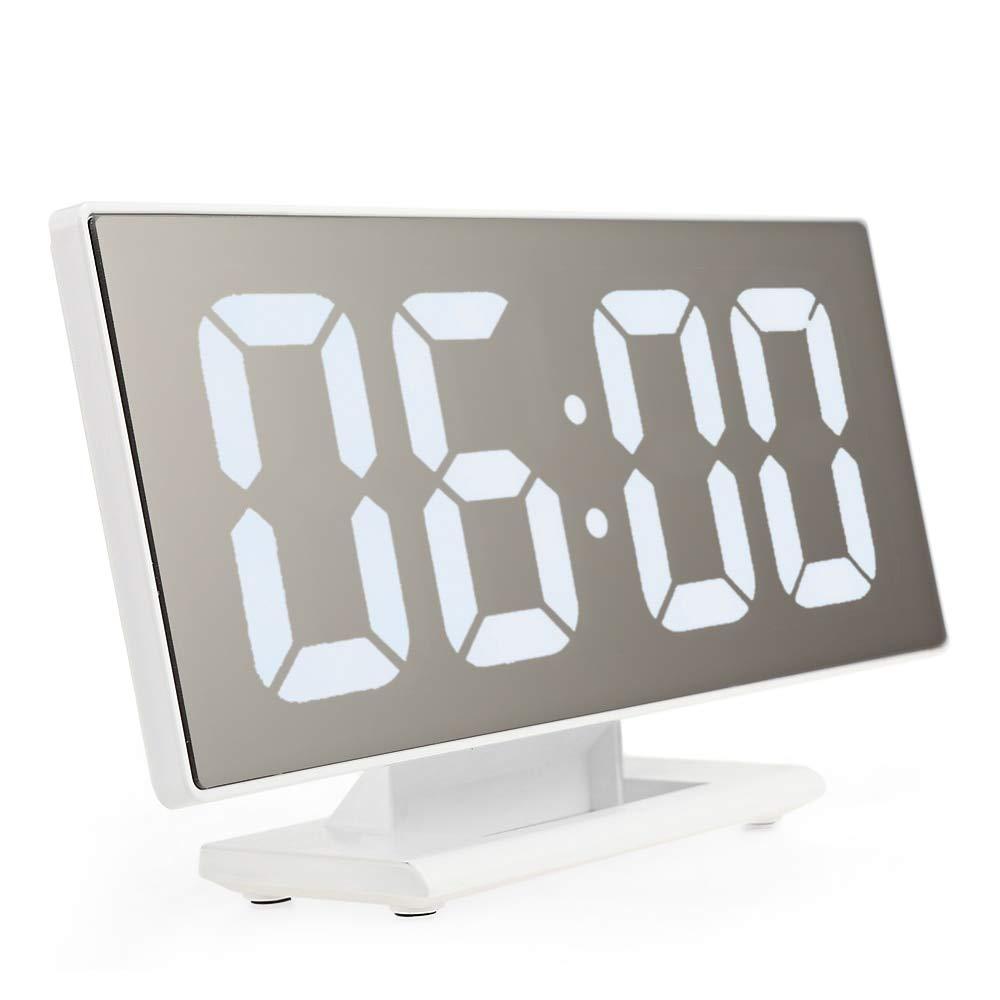 Amazon.com: Alarm Clocks for Bedrooms - Digital Alarm Clock LED Mirror Clock Multifunction Snooze Large Display Time Night Table Desktop reloj despertador ...