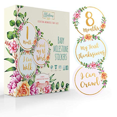 Baby Monthly Milestone Stickers Set of 24, Premium Metallic Belly Month Sticker for Photo Album Scrapbook, Infant Girl Photo Keepsake, Best Baby Shower Gift for New Moms (Golden Floral, 24 Pack)