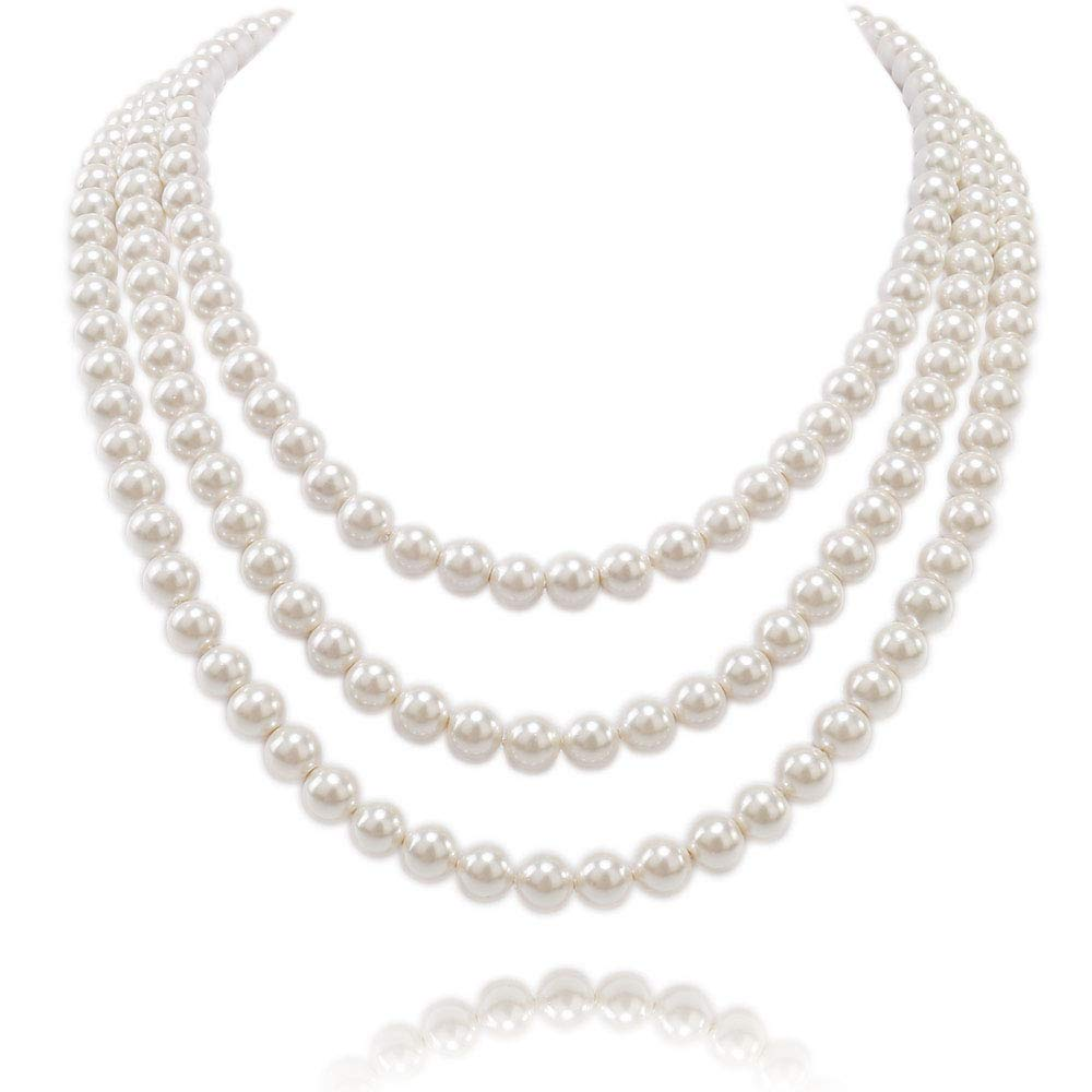Kalse 3 Strands 4mm Simulated Pearl Choker Chunky Bib Necklace 17 18 19 inch (3 stands) by Kalse