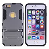 Cuitan 2 in 1 Dual Layer Hybrid Case for iPhone 5S / 5 / 5G, TPU Soft Bumper and PC Hard Back Cover Built-in Kickstand Design Armor Rugged Defender Protective Shell Cover Protection Sleeve with Stylus (Random Color) for Apple iPhone 5S / 5 / 5G - Grey