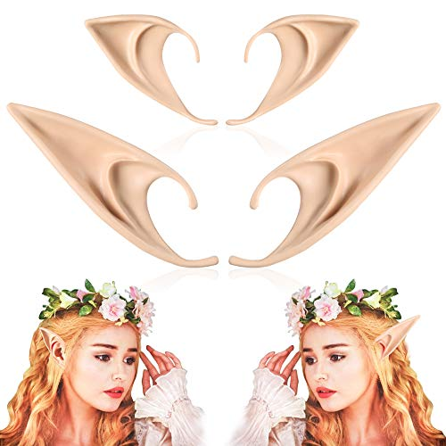 FRESHME 2 Pairs Elf Ears - Medium and Long Style Cosplay Fairy Pixie Elf Ears Soft Pointed Ears Tips Anime Party Dress Up Costume Masquerade Accessories Halloween Elven Vampire Fairy Ears (2 Pairs) for $<!--$8.99-->