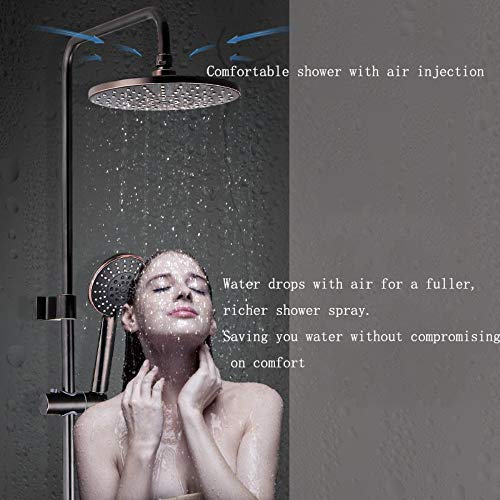 (XUEME Shower Mixer System Round Shower Head and Handheld Shower Contemporary Chrome Thermostatic Valve,Brass Body)