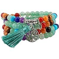 mookaitedecor Tibétain Mala Bracelet 108 Perles Pierres Élastique Collier Bouddhistes Chakra