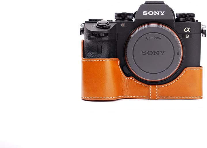 Handmade Genuine Real Leather Half Camera Case Bag Cover for Sony A9 Bottom Open Yellow Brown color