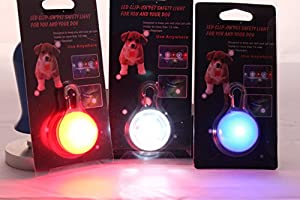 The JazMo Clip on Dog and Cat Collar Safety LED Lights 3 Pack Bundle Red, White and Blue Charm