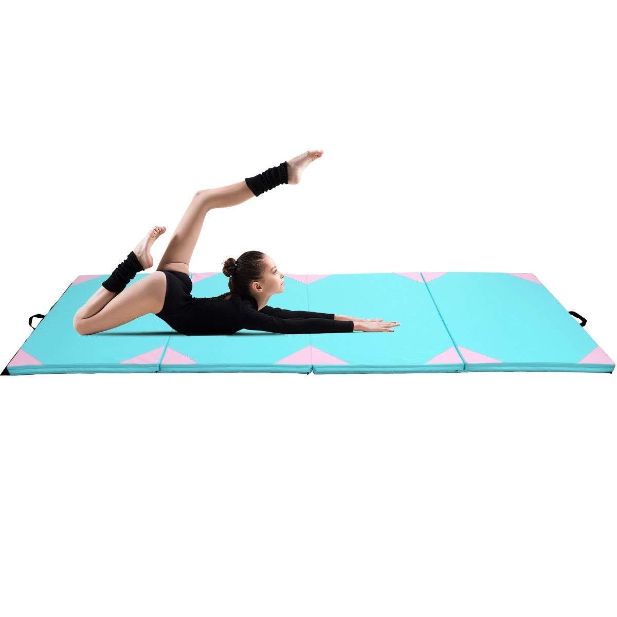 Apontus 4 ' x10 ' x2厚ジムフィットネス練習体操マットブルー B07D7KBSK6