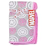 Avengers Super Soft All-Over Print Mink and Sherpa Blue Baby Blanket (Pink)