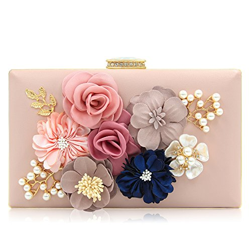 Beaded Flower Tote - Milisente Women Flower Clutches Evening Bags Handbags Wedding Clutch Purse (Light Pink)