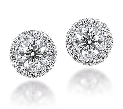Diamond Studs Forever 1.50 Ctw Diamond Halo Earrings IGI USA Certified Screw Backs GH/I1 14K White Gold image