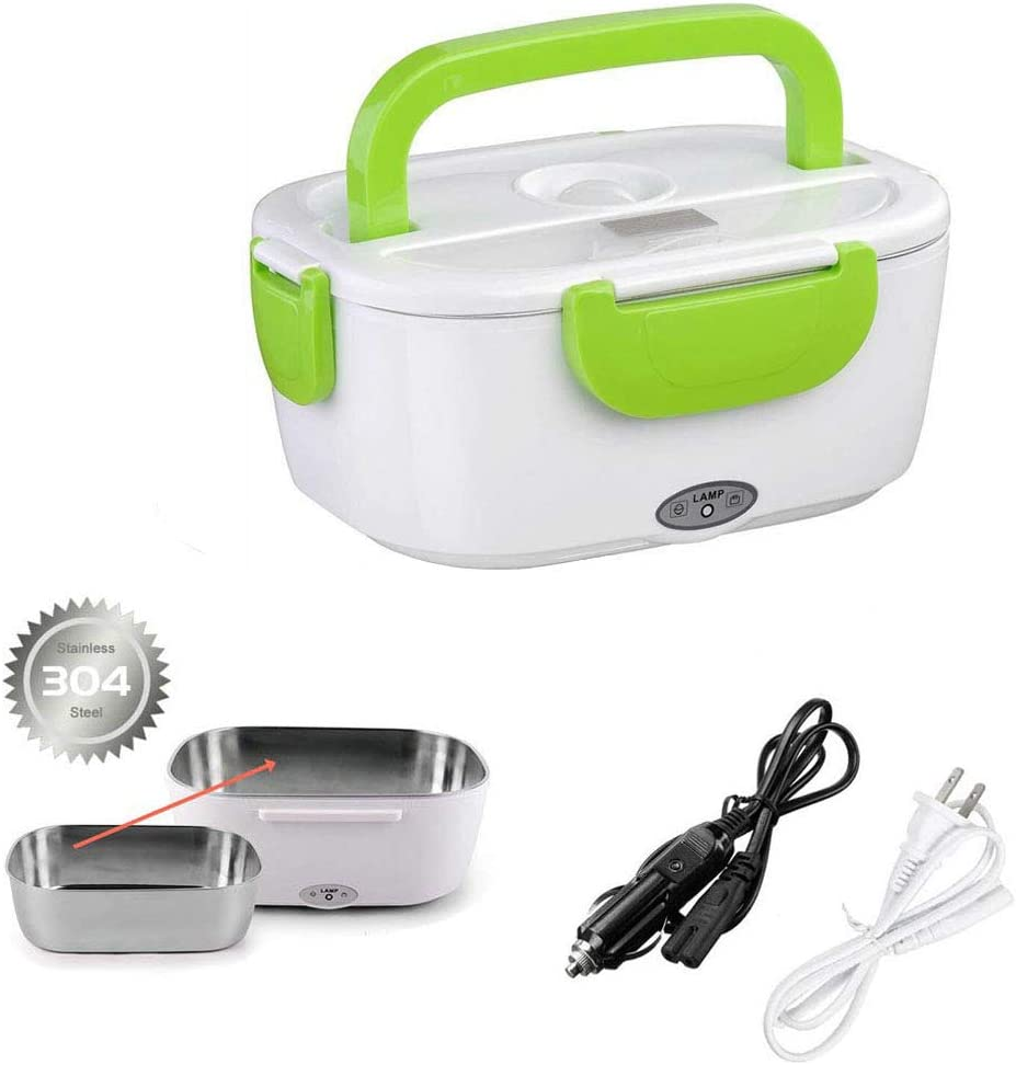 Electric Lunch Box Food Heater for Car and Home Food Warmer with Removable 304 Stainless Steel Storage Container Warming Bento for Adults Kids Green