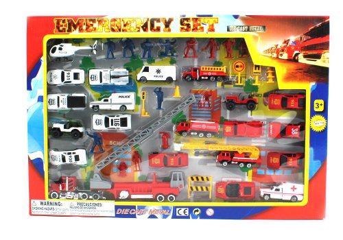 Metro Police Force & Fire Rescue Emergency Crew 44 Piece Mini Toy Diecast Vehicle Play Set, Comes with Street Play Mat, Variety of Vehicles and ()