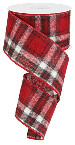 Fuzzy Woven Plaid Wired Edge Ribbon, 2.5