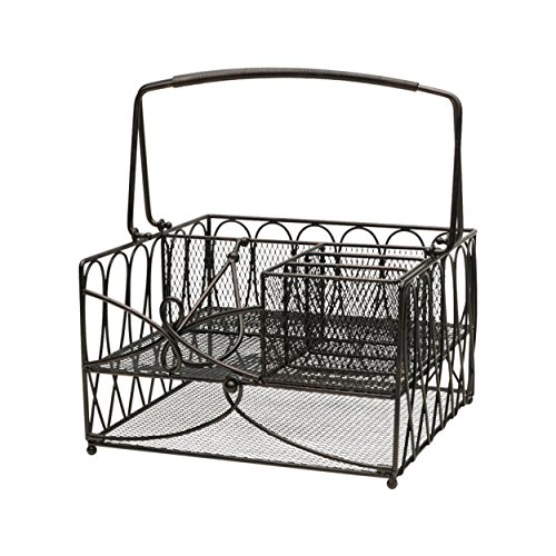 - Gourmet Basics by Mikasa 5228875 Loop Picnic Plate Napkin and Flatware Storage Caddy, Large, Antique Black