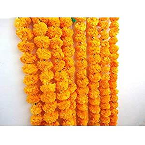 Nexxa Artificial Marigold Flower Strings Orange Color, Party Backdrop, Party Decoration, Indian Theme Party Decor, Photo Prop, Wedding Decorations, Housewarming Decoration, 5 Strings of 5 feet Long 88