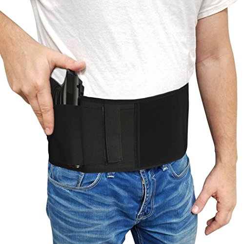 Belly Band Gun Holster Tactical Concealed Carry Pistol/Handgun Magazine Pocket G 2 Taurus iWB Glock 17 19 21 22 23 26 36 43,Sig P238 Smith Wesson Bodyguard 380 38,Ruger LCP, LC9,m1911,9mm,M9 Upgrade