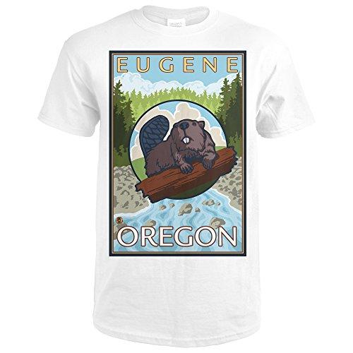 Beaver and River - Eugene, Oregon (Premium White T-Shirt - Eugene River