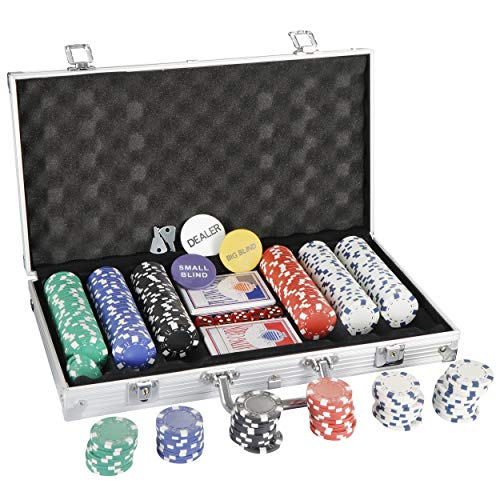 Smartxchoices 300 Poker Chip Set 11.5 Gram Dice Style Clay Casino Poker Chips Aluminum Case w/Cards Dices Blind Button for Texas Holdem Blackjack Gambling