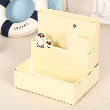 Caja de almacenamiento de papel, decoración de escritorio, papelería, maquillaje, cosméticos, organizador, amarillo: Amazon.es: Bricolaje y herramientas