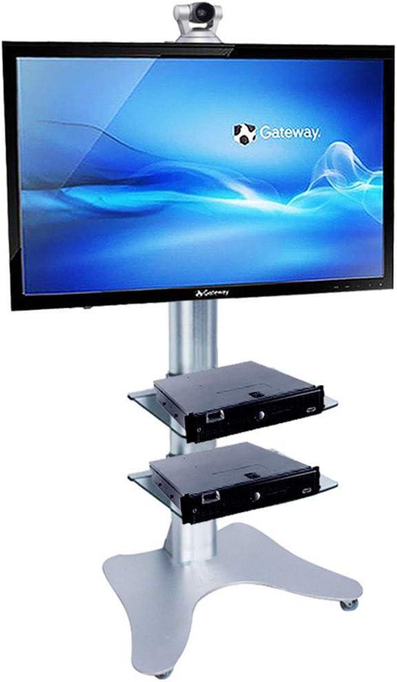 高さ調節可能なテレビ台、32-70 インチ LED 液晶プラズマテレビフラットパネルディスプレイトレイのためのテレビカートは高さ調整ベッドルーム教室会議室ビデオ通話することができます
