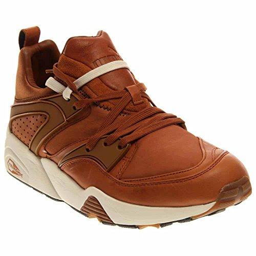 Puma Herren Blaze Of Glory Nl Schwarz Leder Hochgeschlossener Sneakers Brown/Whisper White