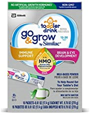 Go & Grow by Similac Toddler Drink, 64 Count, with 2'-FL HMO for Immune Support and 25 Key Nutrients to Help Balance Toddler Nutrition, Non-GMO Milk-Based Powder, Powder Packets