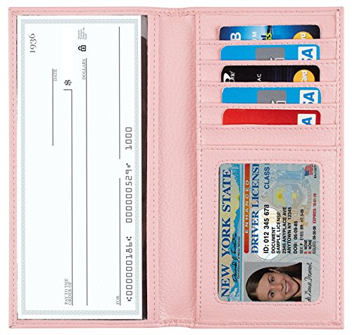 NapaWalli Genuine Leather Checkbook Cover For Men & Women Card Holder Wallet RFID Blocking(pebble pink) ()
