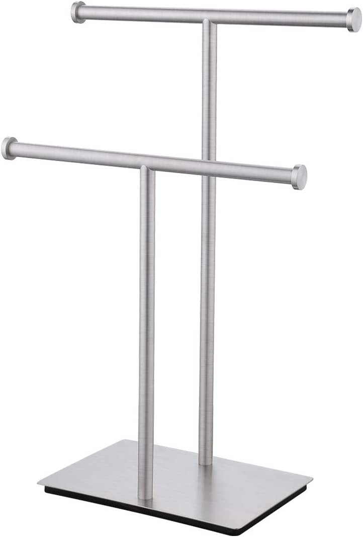 SenseTools Hand Towel Stand for Bathroom Countertop Double-T Towel Holder Towel Rack with Square Base SUS304 Stainless Steel Brushed Finish, BTH209B-2