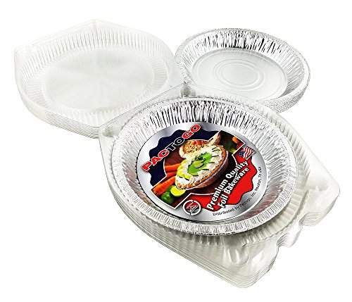 Pactogo 10 inch (Actual Top-Out 9-5/8 Inches - Top-In 8-3/4 Inches) Aluminum Foil Pie Pan - Disposable Baking Tin Plates with Clear Plastic Hinged Containers (Pack of 200 Sets)