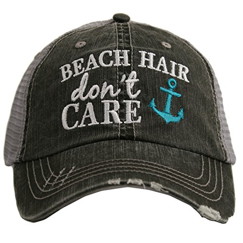 Beach Hair Don't Care Women's Distressed Grey Trucker Hat (Teal Anchor) ()