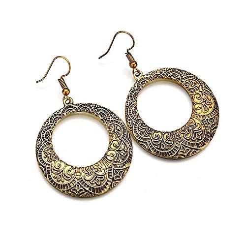 MJartoria Antique Teardrop Hook Dangle Earrings with Filigree Flower Pendant - Bronze Earrings Flower