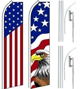 Americana patriótica Militar Swooper banderas y palos 2pack-us flag-us eagle-poles