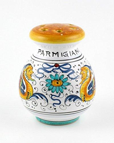 (Hand Painted Italian Ceramic Parmesan & Spice Shaker Raffaellesco - Handmade in Deruta)