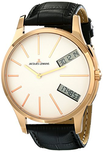 Jacques Lemans Men's 1-1788F London Analog-Digital Display Quartz Black Watch
