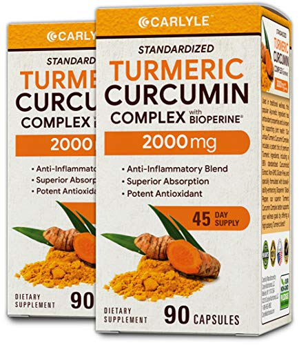 Turmeric Curcumin 2000 mg 180 Capsules – with 95% Standardized Curcuminoids and Bioperine. Pain Relief and Joint Support Non-GMO, Gluten Free, Turmeric Root Supplement Pills by Carlyle