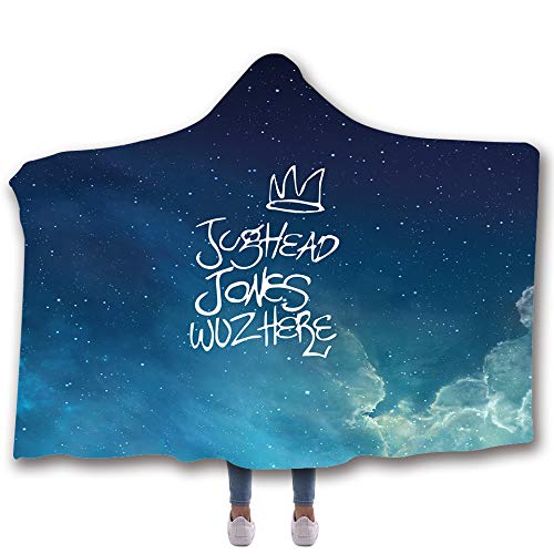 SimonaDnch Blue Galaxy Sky Jughead Jones wuz Here Hooded Throw Blanket Soft Printed Cloak for Adult and Kids