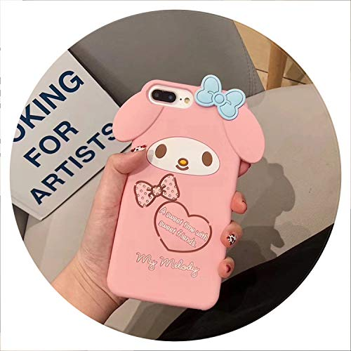 Luxury 3D Japanese Cute Cartoon Melody Cinnamoroll Silicone Phone case for iPhone 6 6s 7 8 Plus X XR XS MAX Girl Coque,A,for iPhone 8