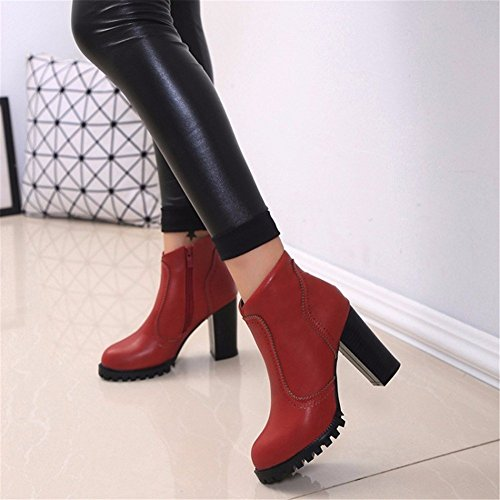 35 Martin Side Eu High Winter Heeled Autumn DIDIDD Pointed Boots Zipper Red Women'S Boots and Shoes Coarse 5zwWUq6