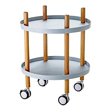 Estante de almacenamiento Soporte de la cesta rodante de 2 niveles, mesa de centro rodante para ...