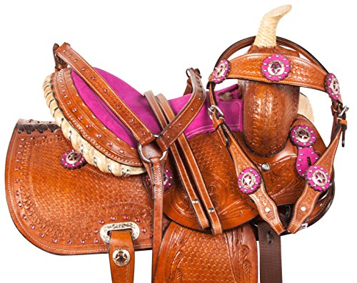 10 12 13 PINK CRYSTAL COWGIRL PREMIUM LEATHER WESTERN PLEASURE TRAIL SHOW YOUTH KIDS BARREL RACING PONY SADDLE TACK SET (12) (Trail Tack Pleasure Saddle)