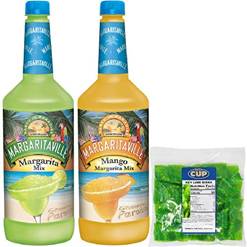 Margaritaville Non Alcoholic Cocktail Mix - Premade Lime and Mango Margarita Mix 1-1 Liter Bottle of each, for Jimmy Buffett Margaritaville Frozen Concoction Maker - with By The Cup Key Lime Discs
